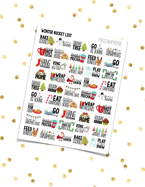 WINTER BUCKET LIST // Half Boxes (Printable Pdf Jpeg) Erin Condren Scrapbooking Plum Paper Planner Filofax Inkwell Press Stickers Christmas