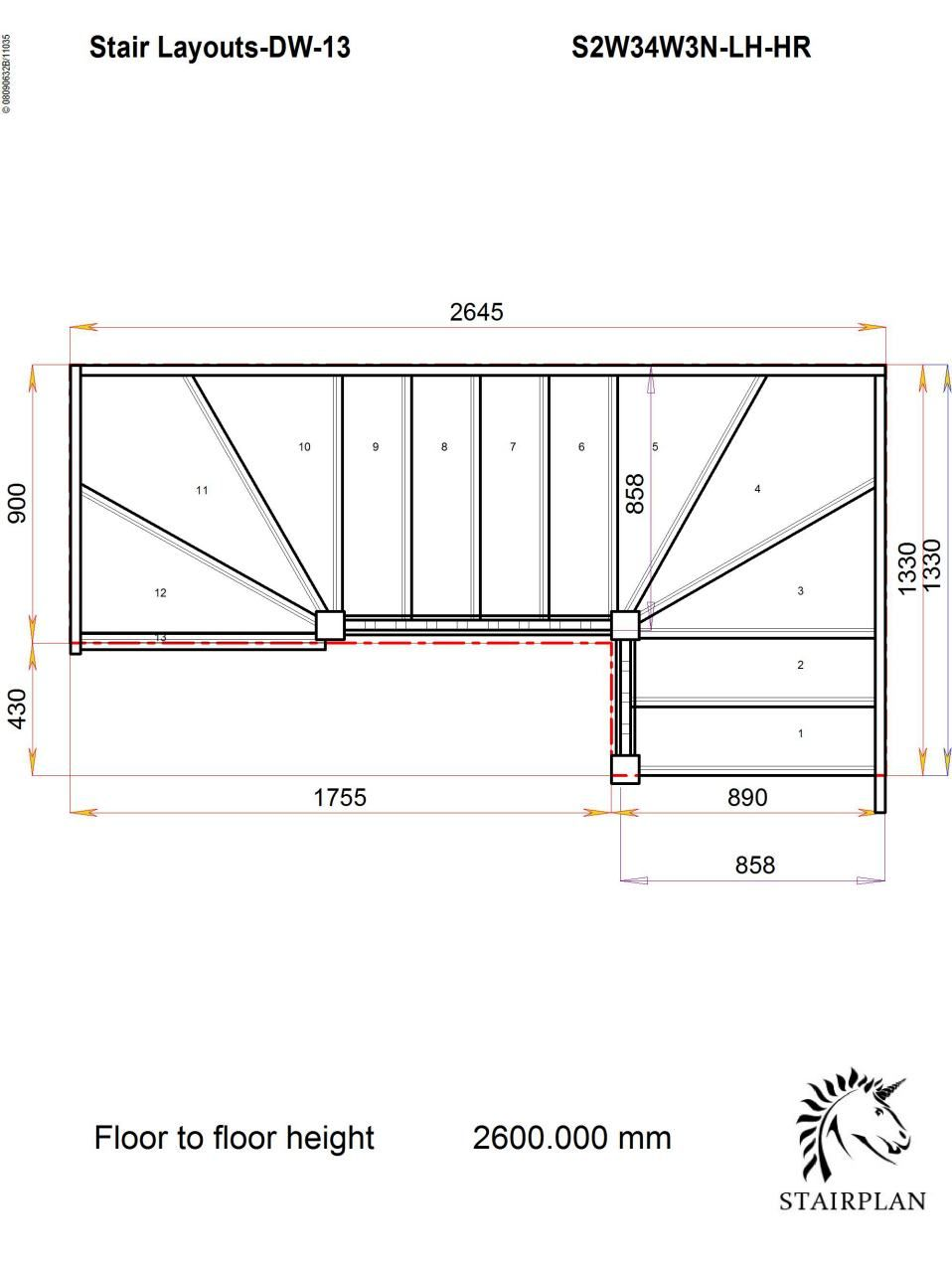 Tradestairs Lh Double Winder Hr Staircase Design Stair Plan