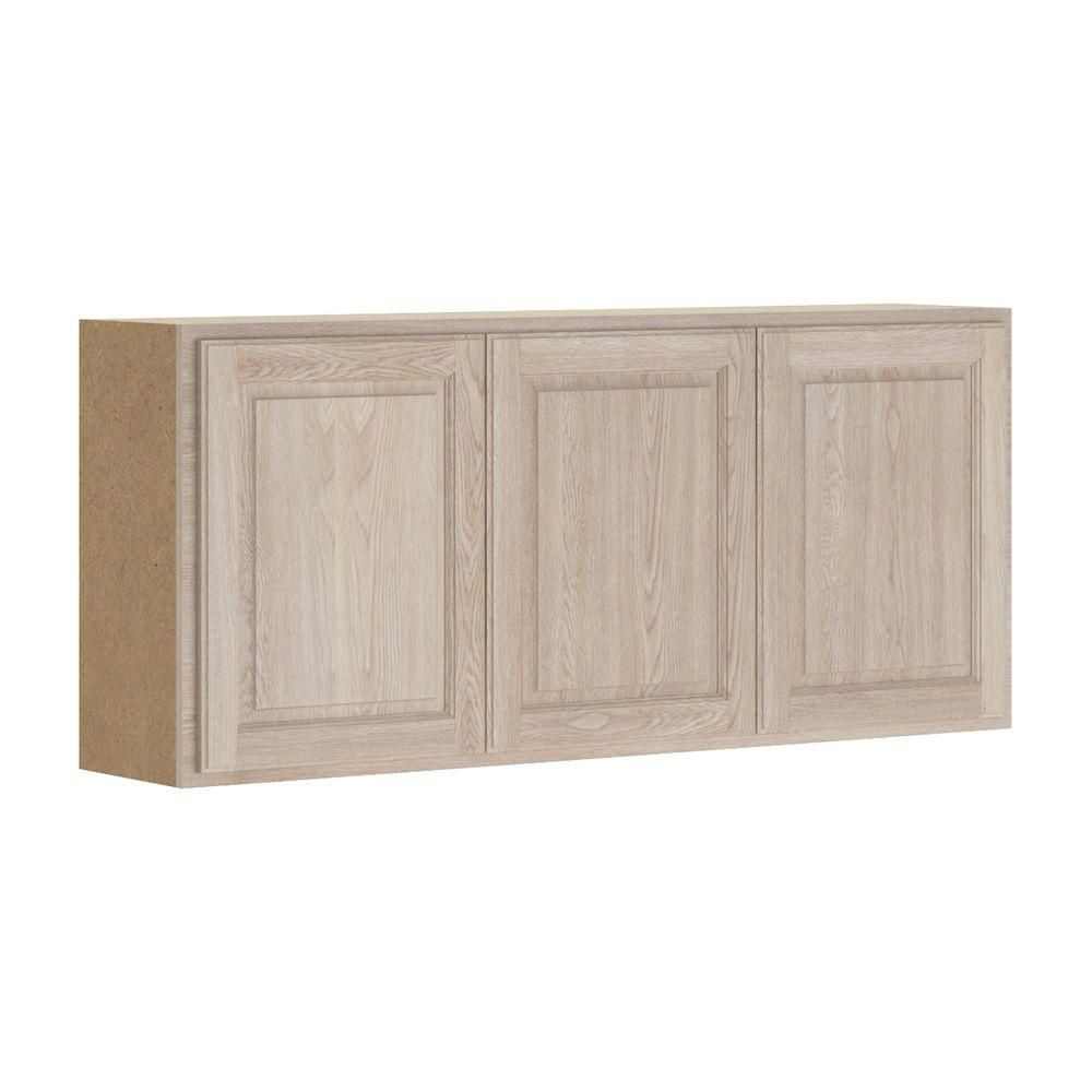 Assembled 54x24x12 in. Stratford Wall Cabinet in Unfinished Oak ...