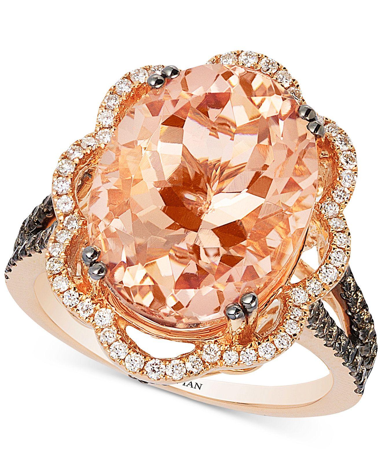 Le Vian Peach Morganite 7 ct t w and Diamond 3 4 ct t w