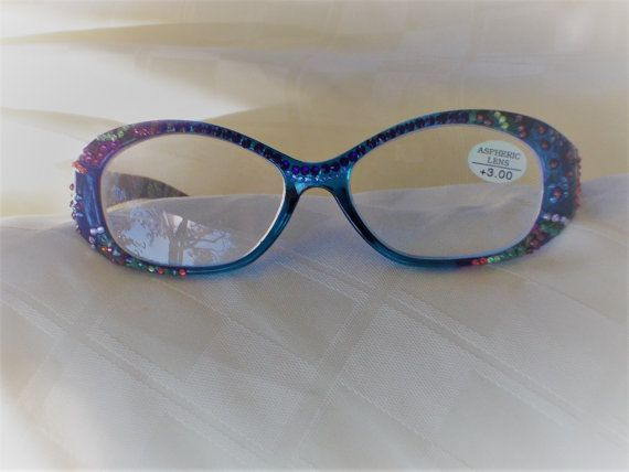Swarovski 3.00 Readers, Bold Beautiful Paisley Flower Print on Blue Frame, Playful Match of Crystals by jamaartbeads. Explore more products on http://jamaartbeads.etsy.com