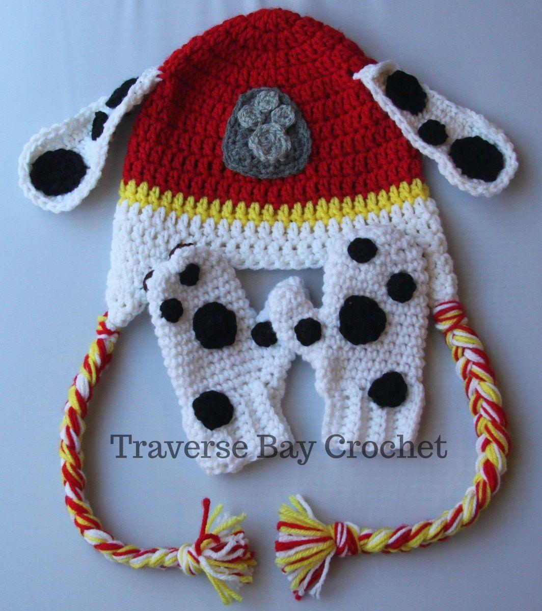 Crochet toddler paw mitten Marshall Paw Patrol -