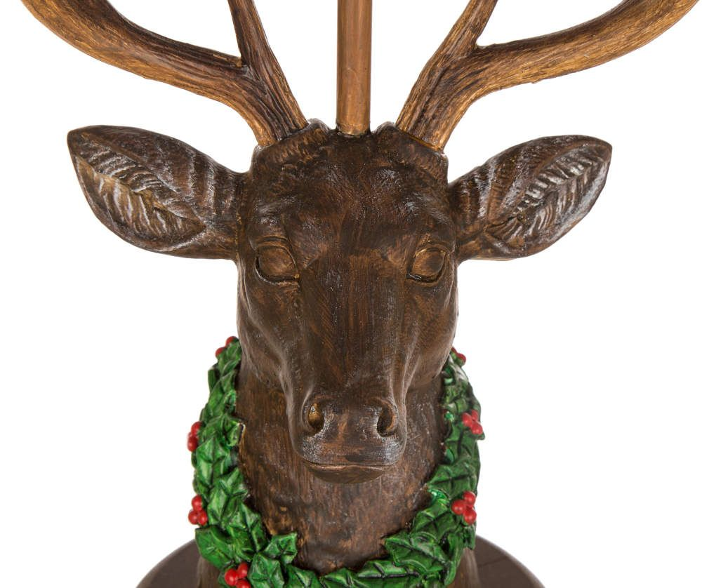 Glitzhome Reindeer Table Lamp With Red & Black Plaid Shade ...