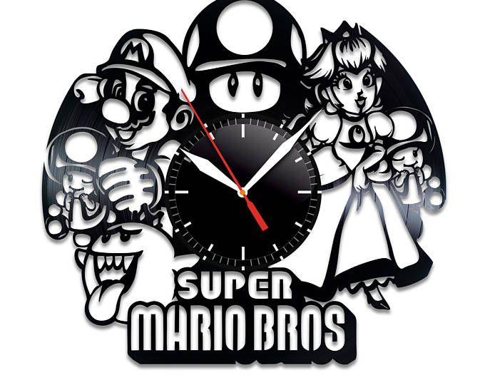 Super Mario Bros Vinyl Record Wall Clock, Nice Home Decor, Bes Gift Idea