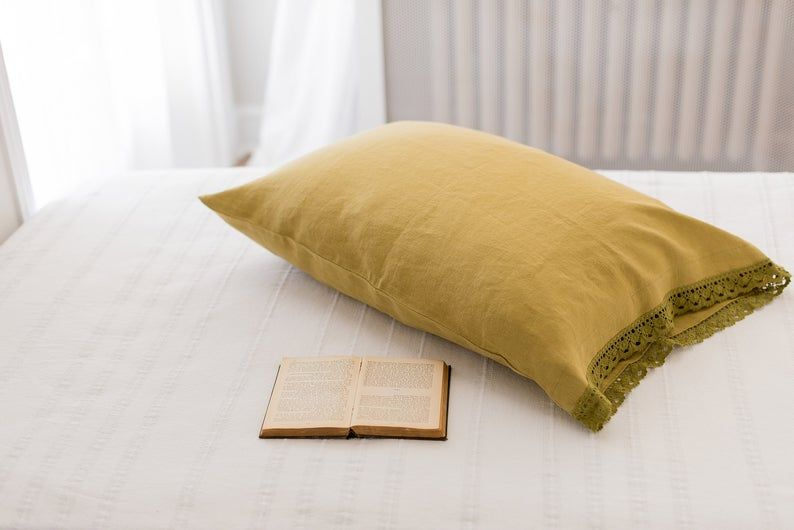 White Linen Pillow Covers with Natural