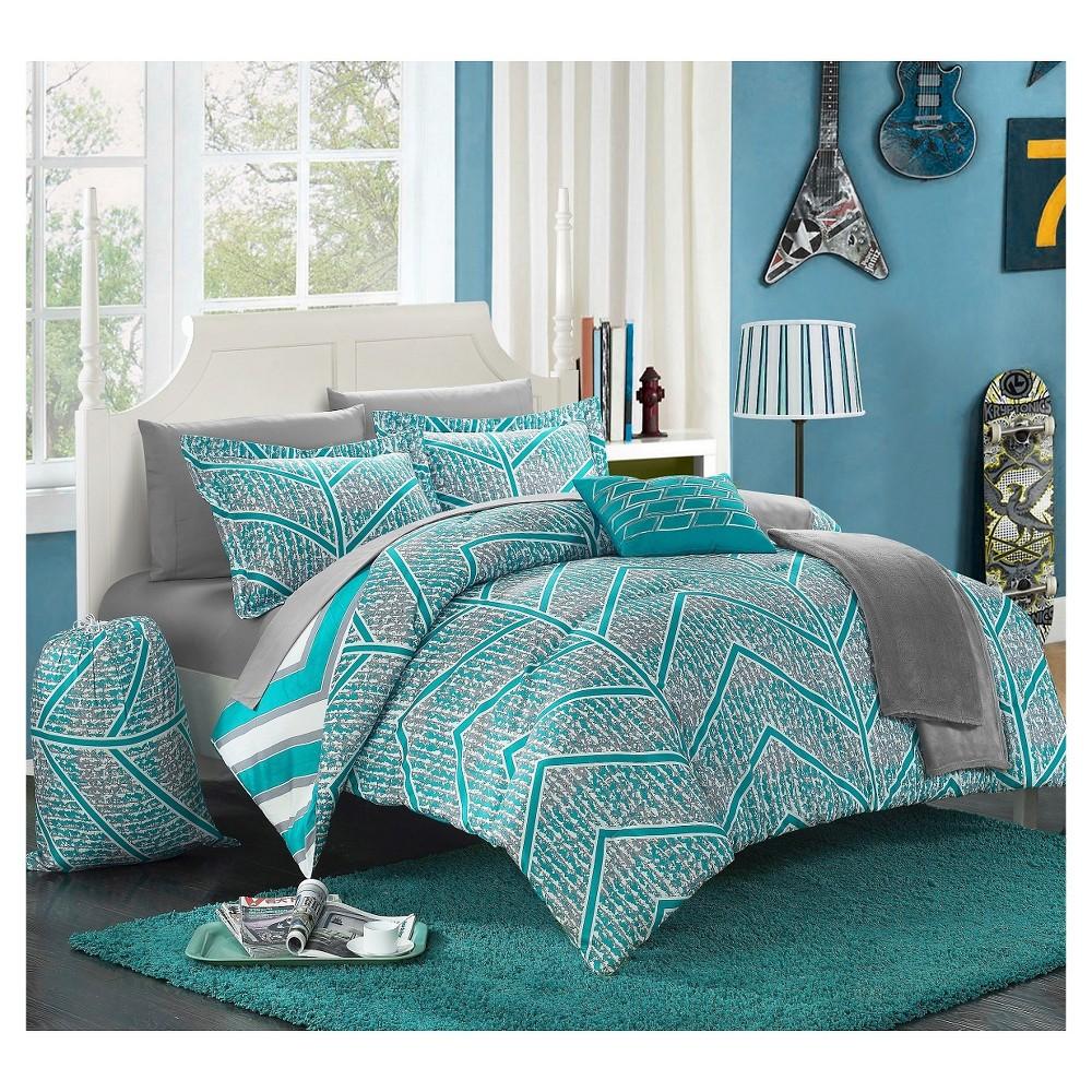 Amaretto Chevron And Geometric Printed Reversible Comforter Set 10 Piece  (Full) Aqua (Blue