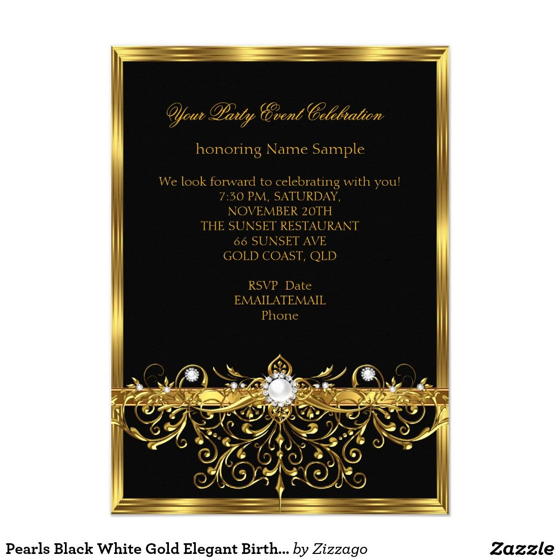"""Fiesta de cumpleaños elegante negra del oro blanco invitación 4 5"""" x 6 25"""" Quino Mafe Pinterest"""