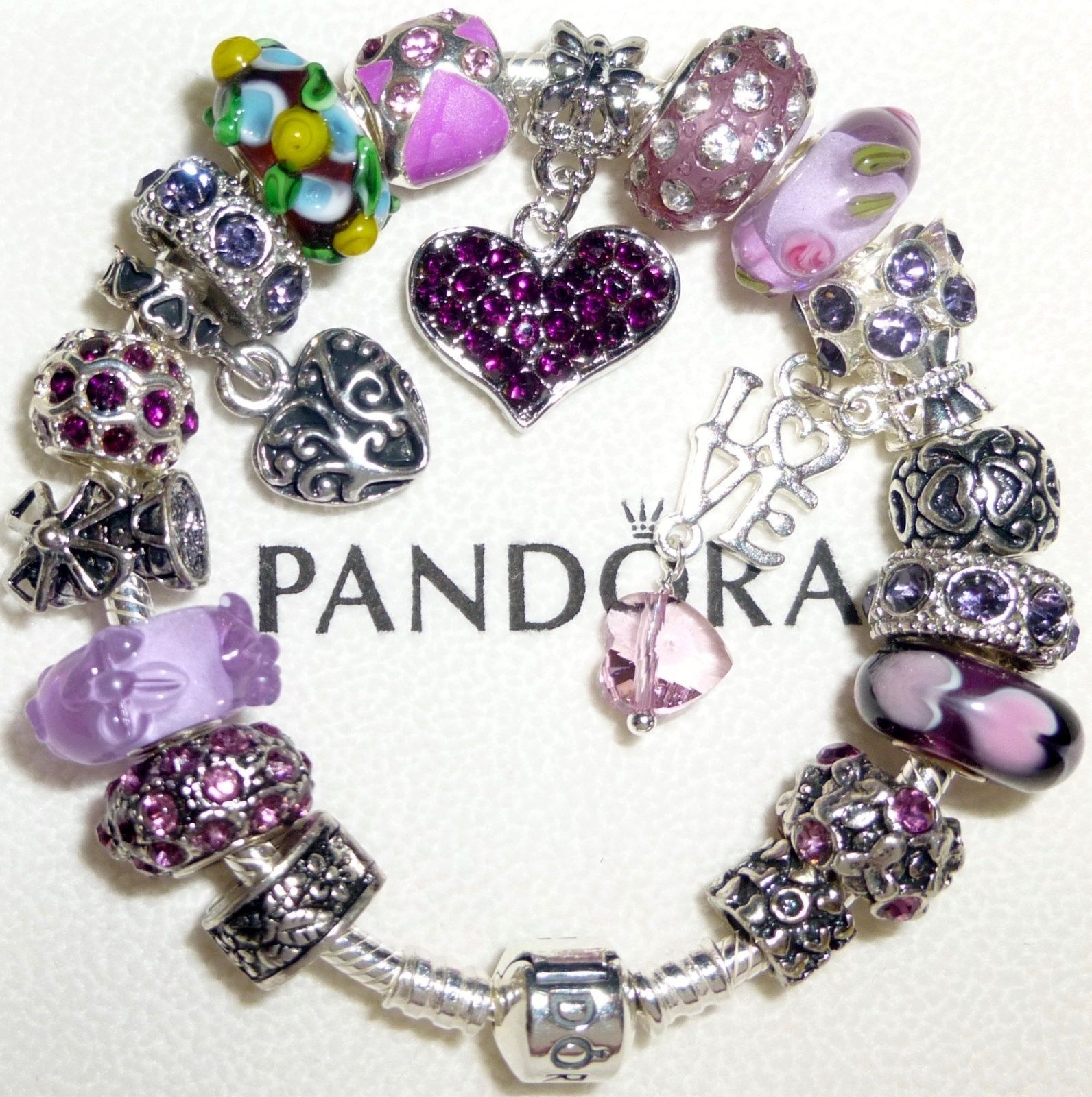 How To Clean Pandora Bracelet And Charms: Authentic Pandora Bracelet Barrel Clip With Charms Happy