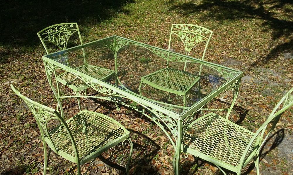 Vintage Woodard Wrought Iron Table With