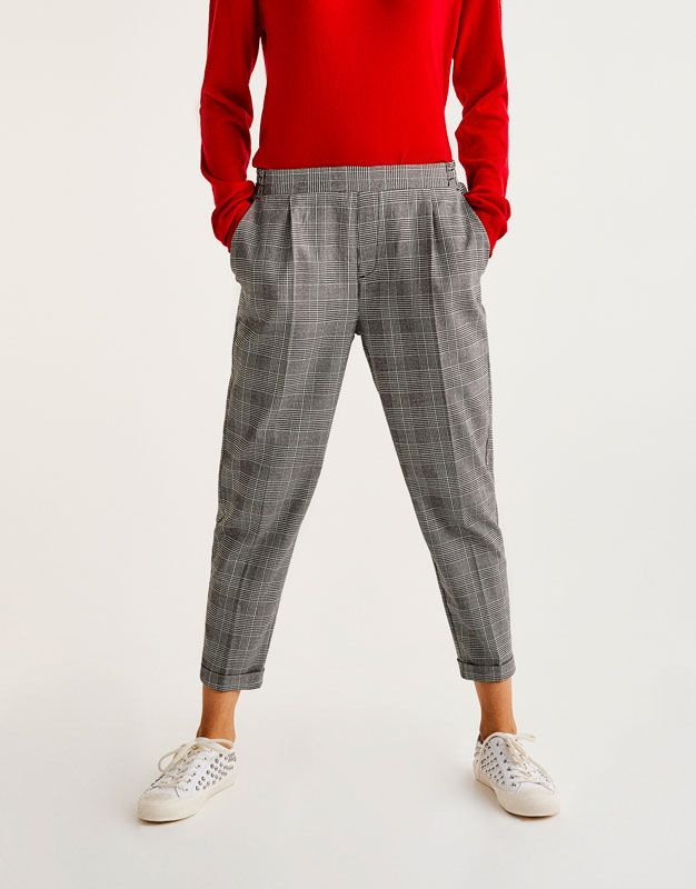 b272c577973d98 Tailored fit checked jogging trousers - New - Woman - PULL&BEAR United  Kingdom