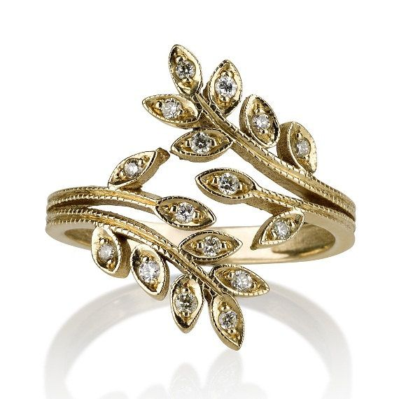 14k yellow gold ring leaf shape ring accented by
