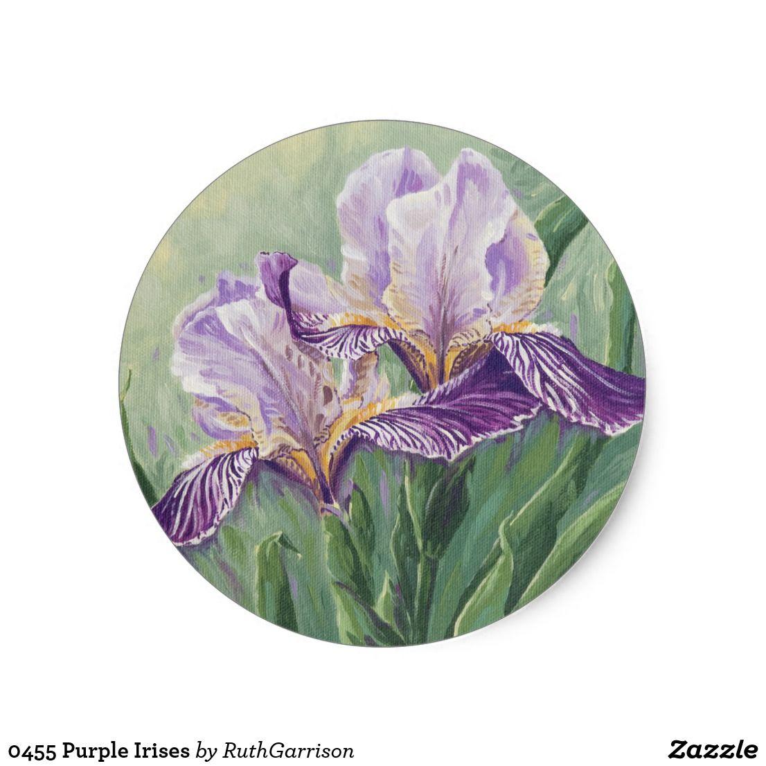 0455 Purple Irises Classic Round Sticker