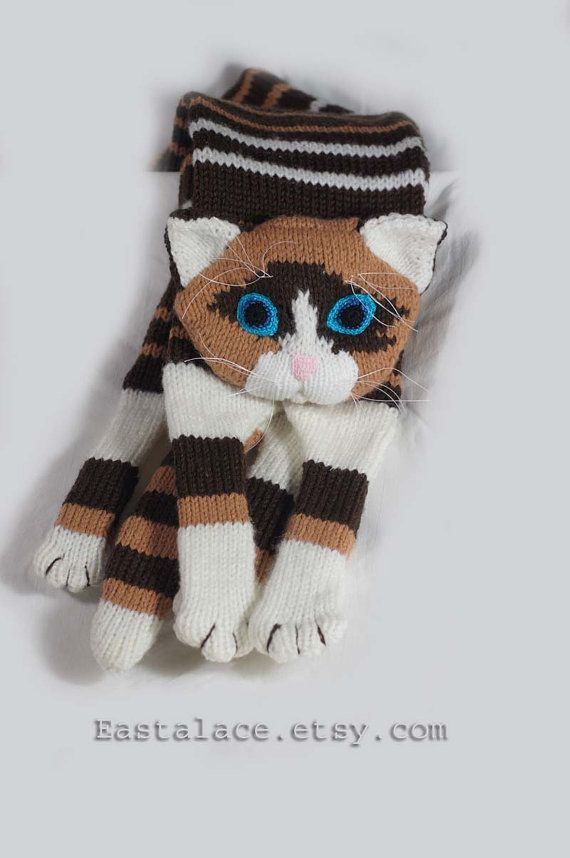 Siamese Cat Scarf Knitting animal scarf, Multi color cat scarf, Hand ...