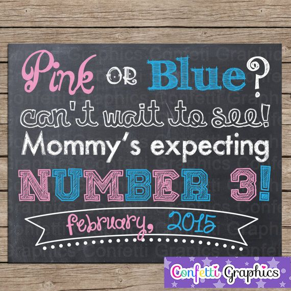 Baby 3 Pregnancy Announcement Third Baby Pregnancy by WiggleWords – Baby Announcement Party