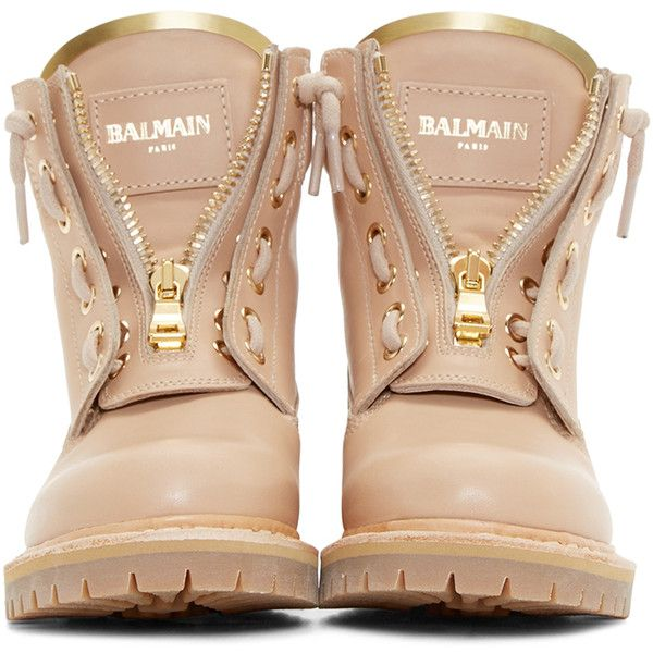 Balmain Tan Leather Taiga Ranger Boots (£665) ❤ liked on Polyvore featuring shoes, boots, zipper boots, tan leather shoes, round toe boots, leather shoes and rubber sole boots