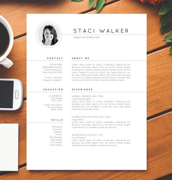 Modern Resume Template 3pk CV Cover Letter For MS Word Professional Creative Minimalist Instant Digital Download Staci