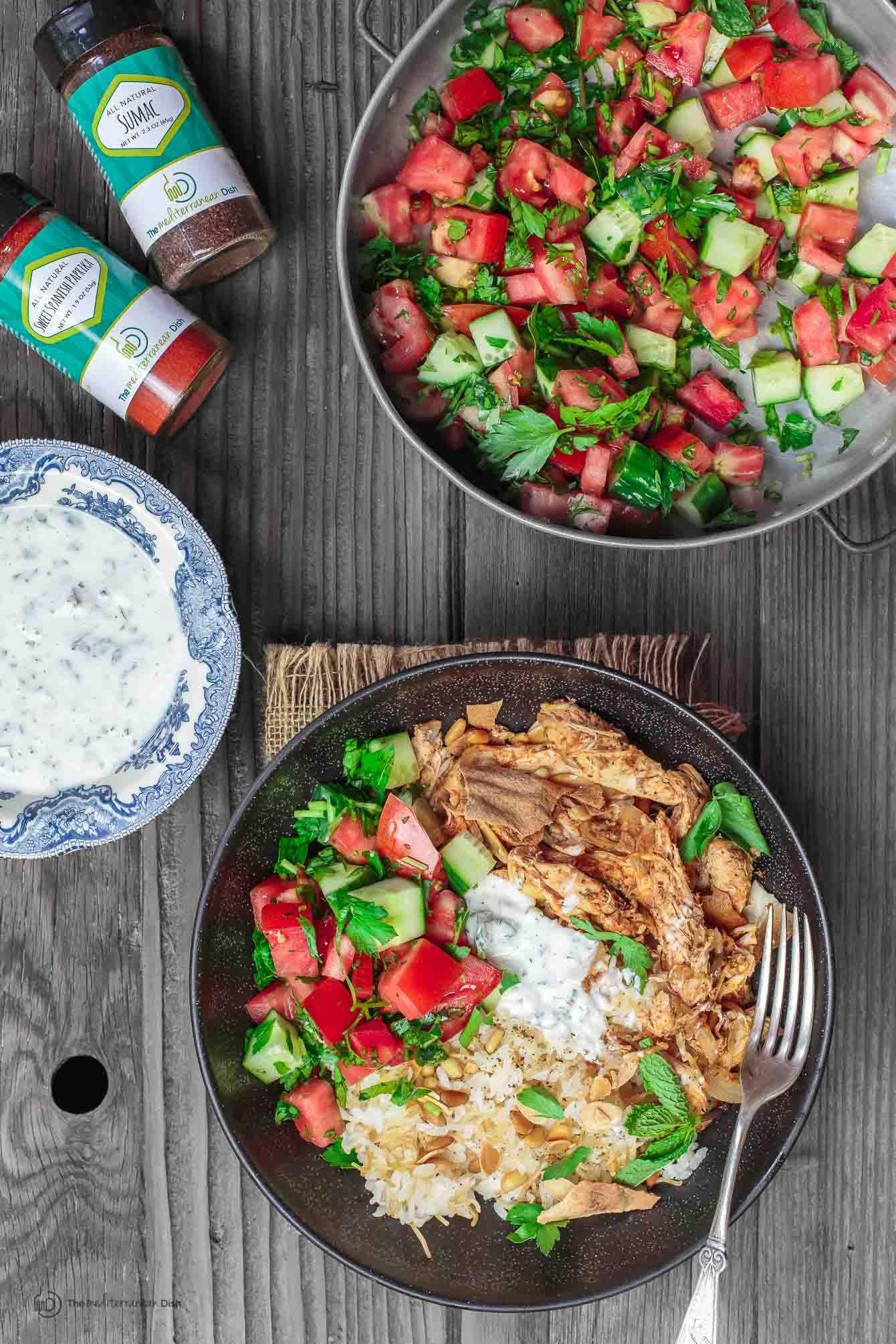 Lebanese Chicken Fatteh Dinner Bowls