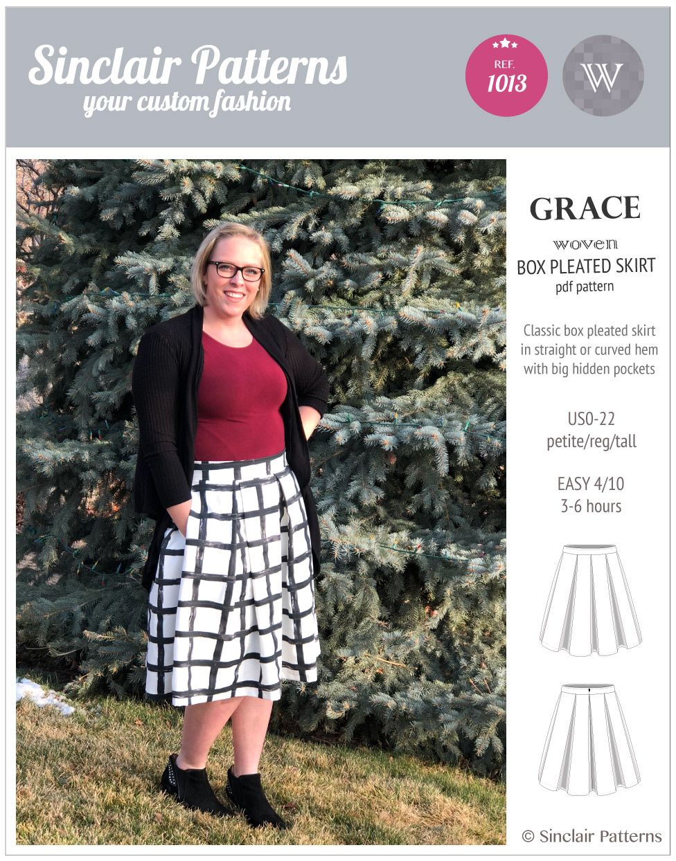 Grace Box Pleated Lined Woven Skirt With Pockets Pdf Skirts With Pockets Skirts Box Pleats