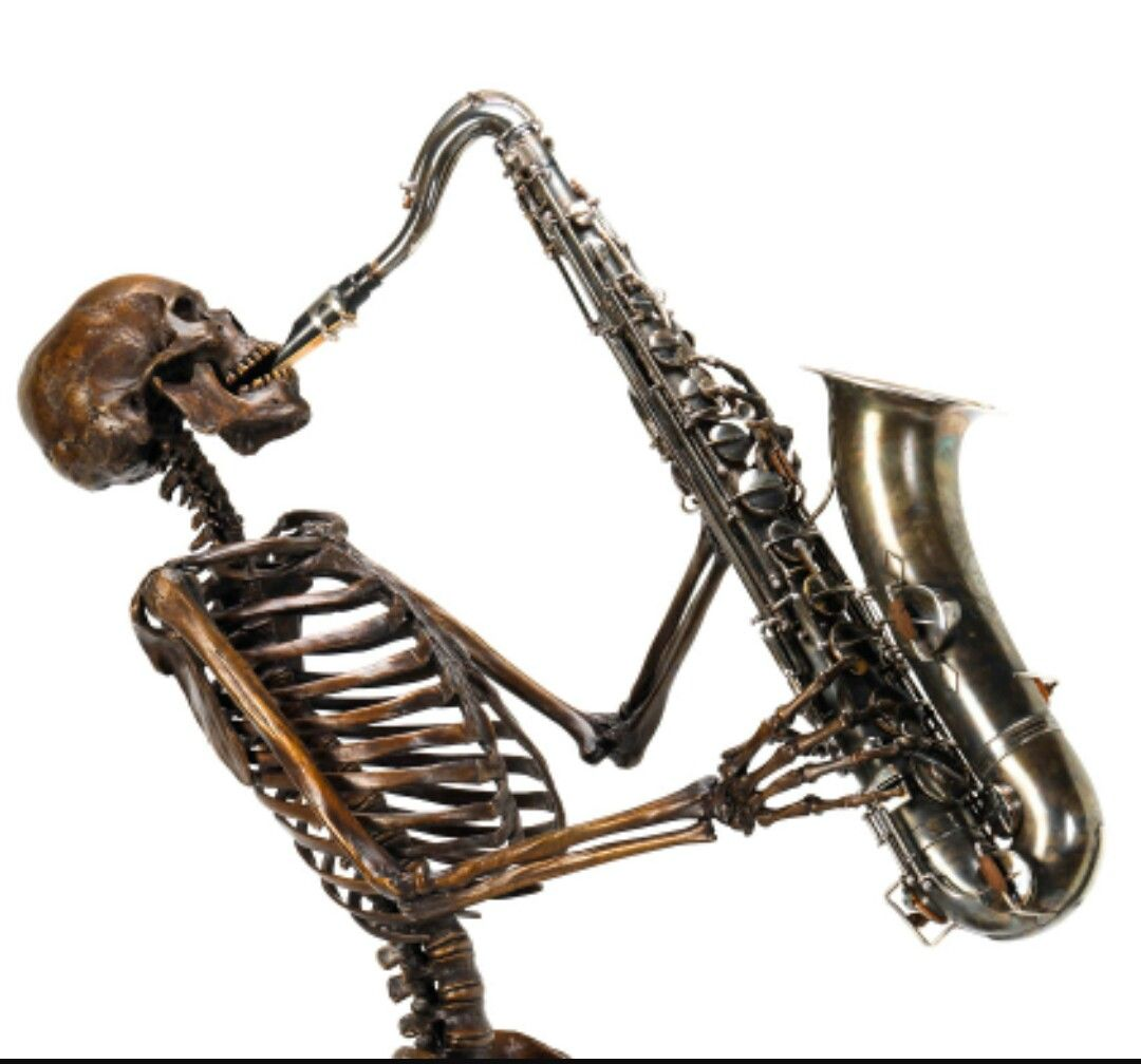 These Skeletons Playing Instruments Are Ideas For Hand Tattoos 2 Needed Saxophone Tattoo Skeleton Saxaphone