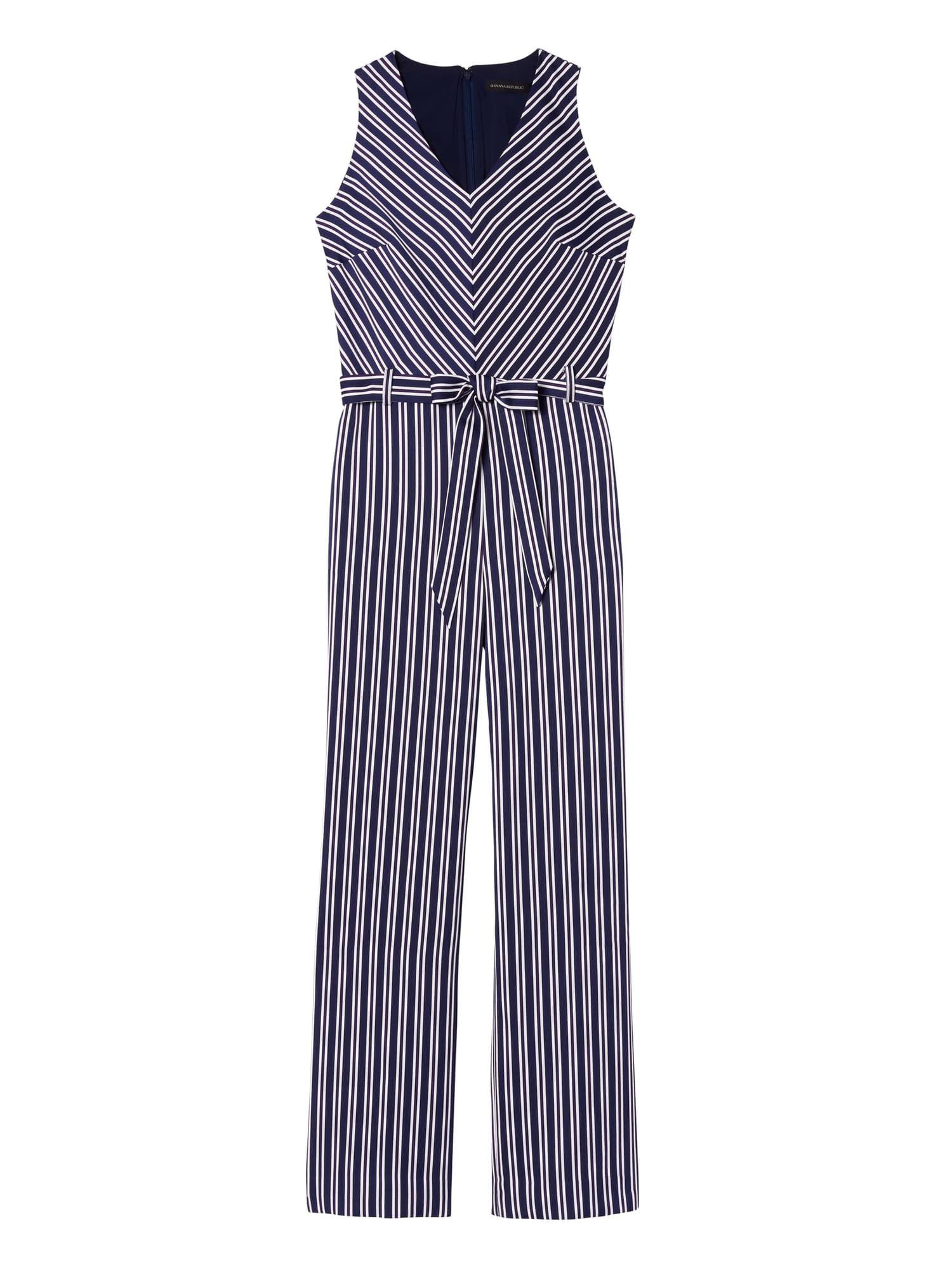 43cd3707a68 Stripe Tie-Waist Jumpsuit