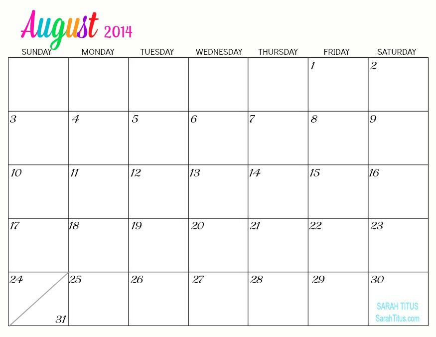Print Free 2014 Monthly Calendar Free Printable 2014 Monthly