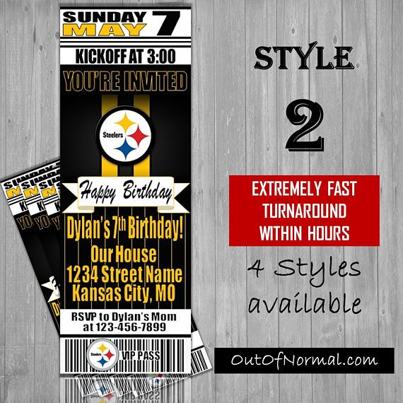 Pittsburgh steelers themed birthday invitation tickets custom pittsburgh steelers themed birthday invitation tickets filmwisefo Gallery
