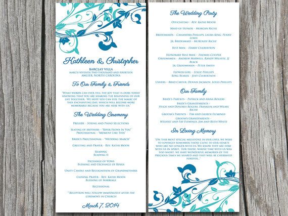 whimsical vines wedding program microsoft word template winter