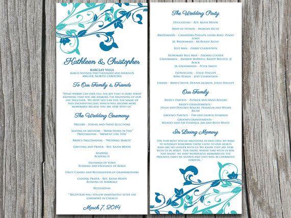 Whimsical Vines Wedding Program Microsoft Word Template