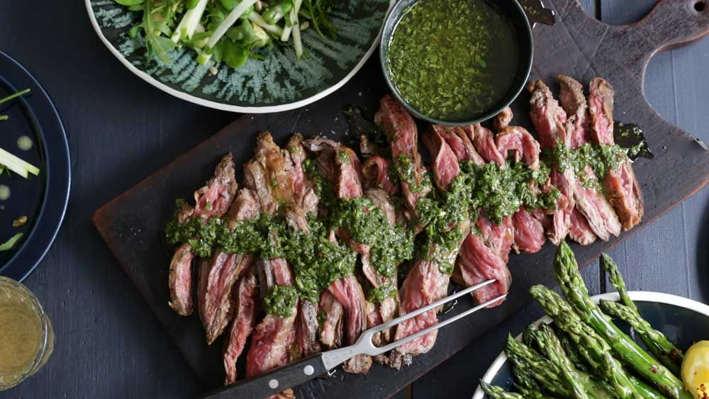 Serve this tender and delicious skirt steak with a cracking salad and grilled asparagus spears for the perfect healthy summer dinner.