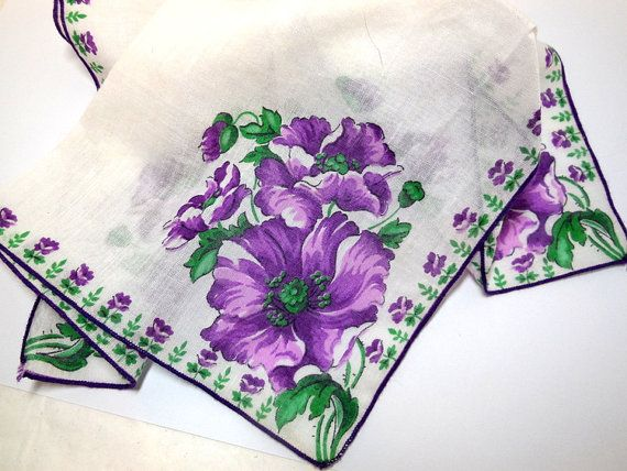 Floral Purple Hankie Handkerchief Vintage 60s decorative Bride Cottage Chic Collect Craft Cotton Mom Grandmother Gift
