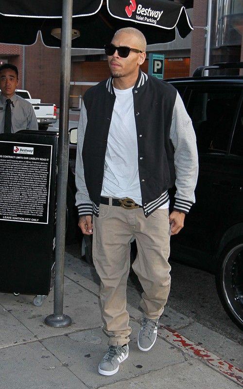 Chris Brown Wearing Baseball Jacket Chris Brown Style Breezy Chris Brown Chris Brown