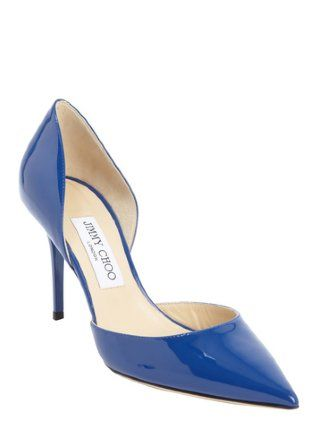 cobalt blue patent leather 'Addison' pointed toe pumps