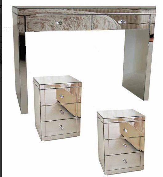 Mirrored Vanity Table Glass Folding Mirror Console Bedroom End Side Set Drawer Decor