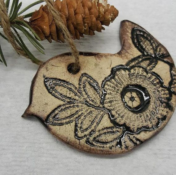 Christmas ornament bird doily by MuddyGrandma on Etsy