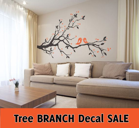 Sale tree branch leaves birds hearts 2 color wall vinyl - Cheap wall decals for living room ...