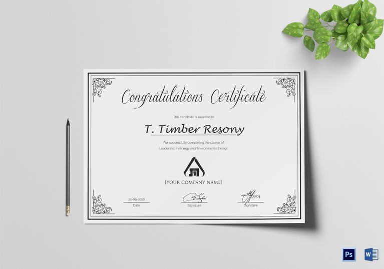 Congratulations Certificate Template Word simple congratulation