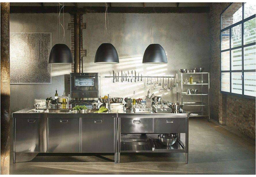 Composizione Cucina A Blocchi 195x320 Kuchenelement Nach Mass By Alpes Inox Large Kitchen Design Outdoor Kitchen Cabinets Interior Design Kitchen