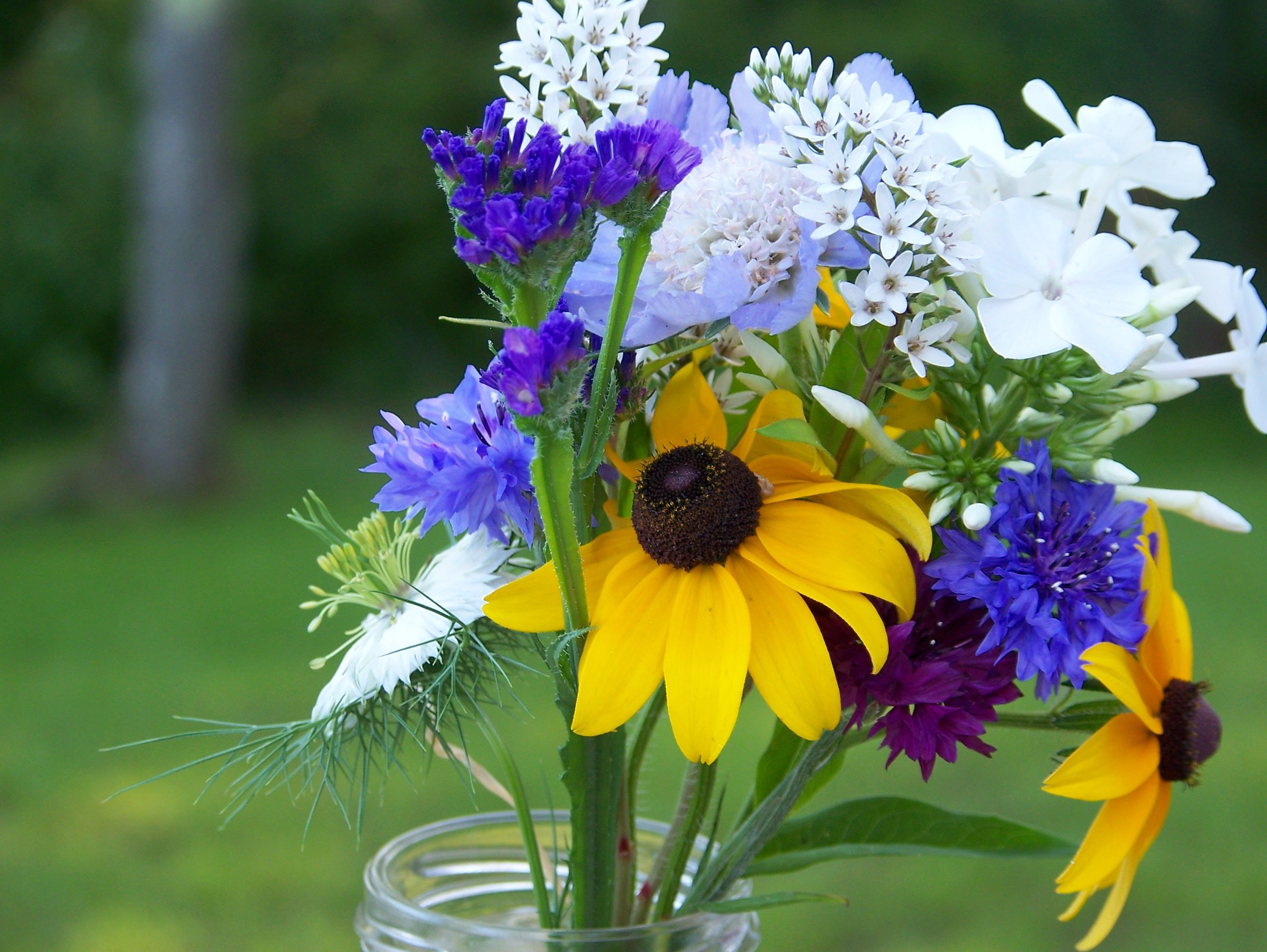love! so simple but yet so much impact. love the yellow and blue. flower ideas