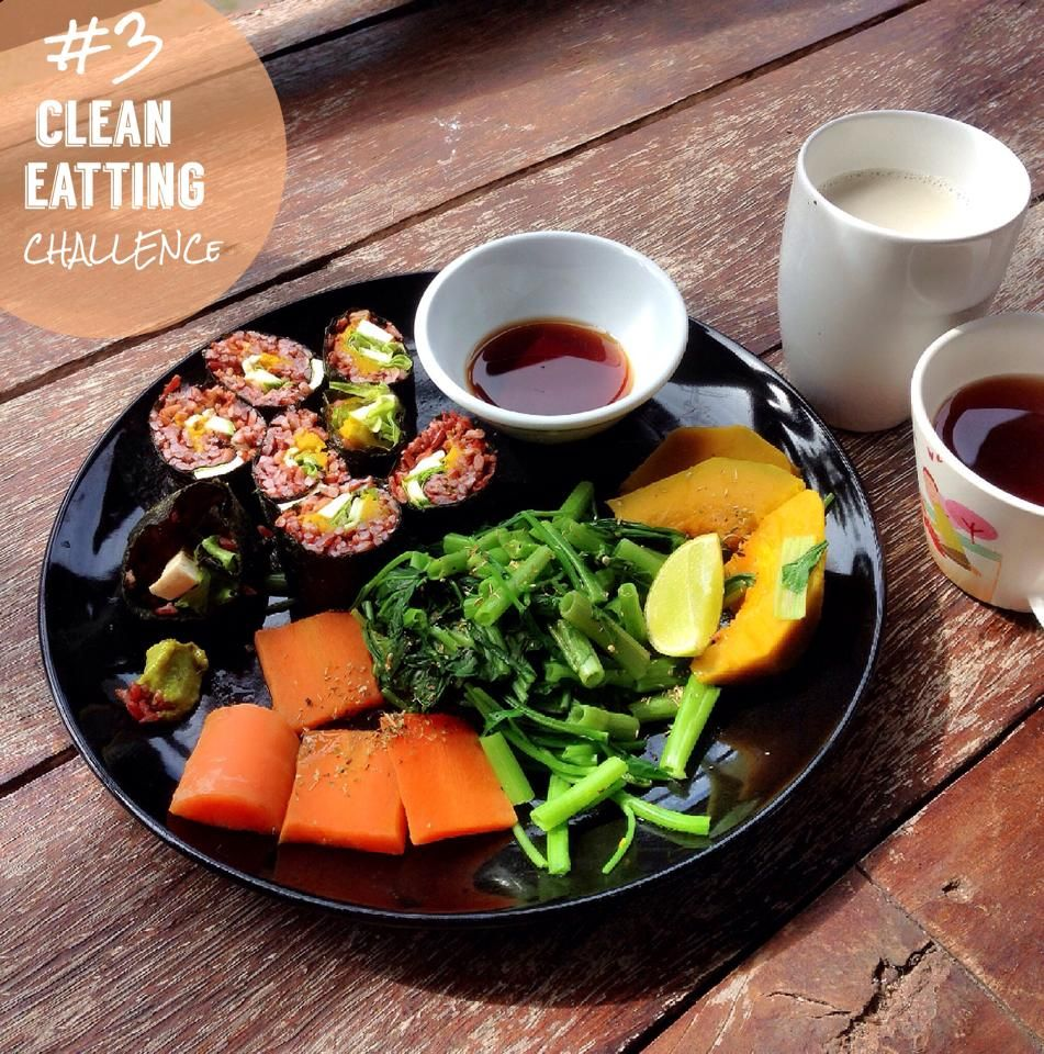 VEGAN - tufu brown rice Sushi sided pumkin morning glory and carrot serve wuth soy corn milk and tulsi ginger tea!