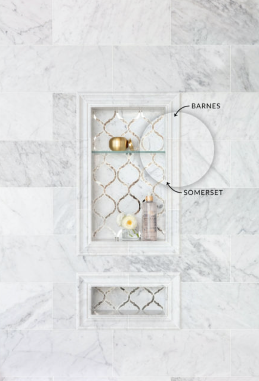 Guide To Layering Tile Trim And Profiles Tile Shower Niche Glass Mosaic Bathroom Mosaic Bathroom Accessories