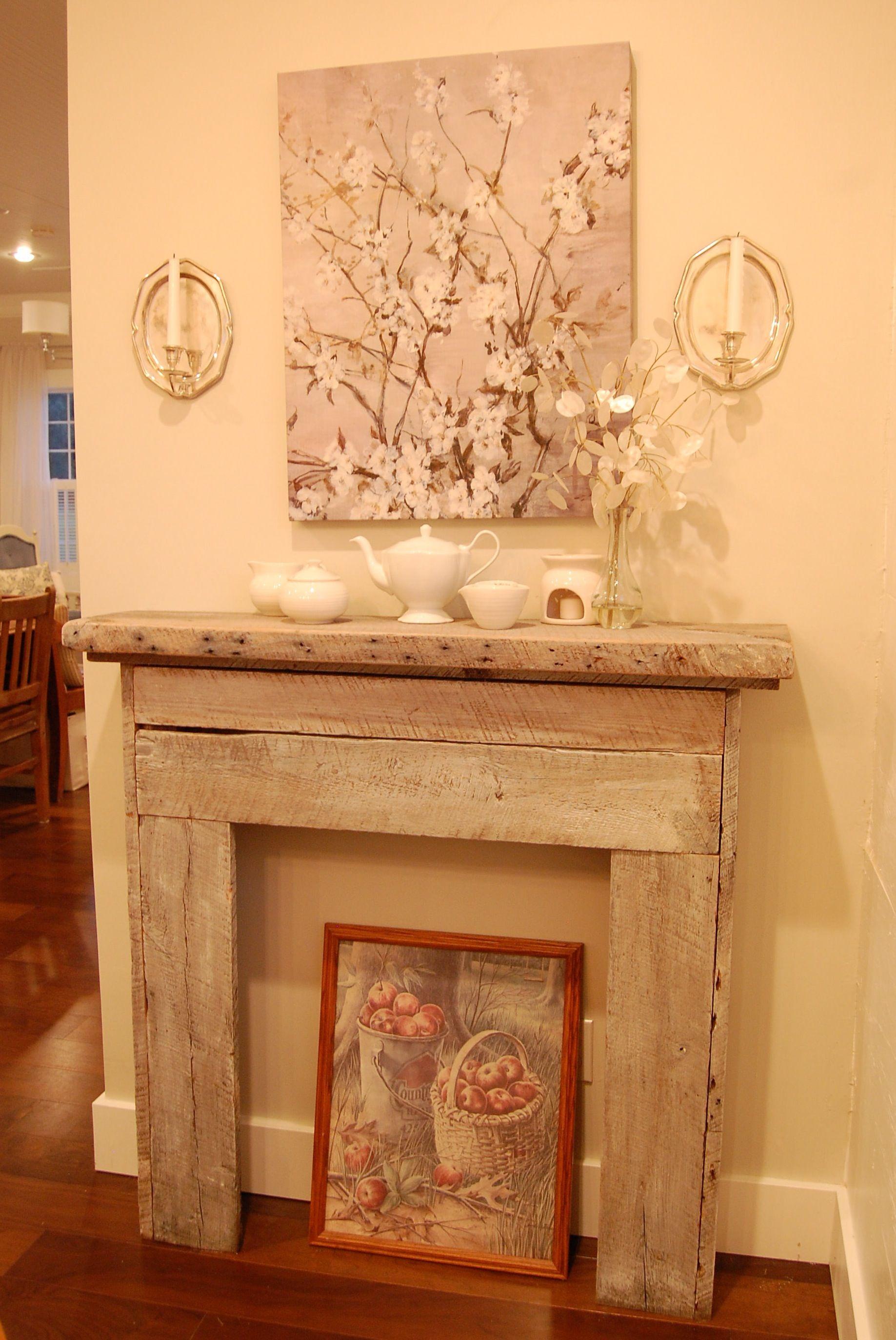 Faux Mantel Built From Reclaimed Old Barnwood. Gefälschte Kamin KaminverkleidungenKamin UmgibtKaminePallet FireplaceFireplace IdeasFaux ...