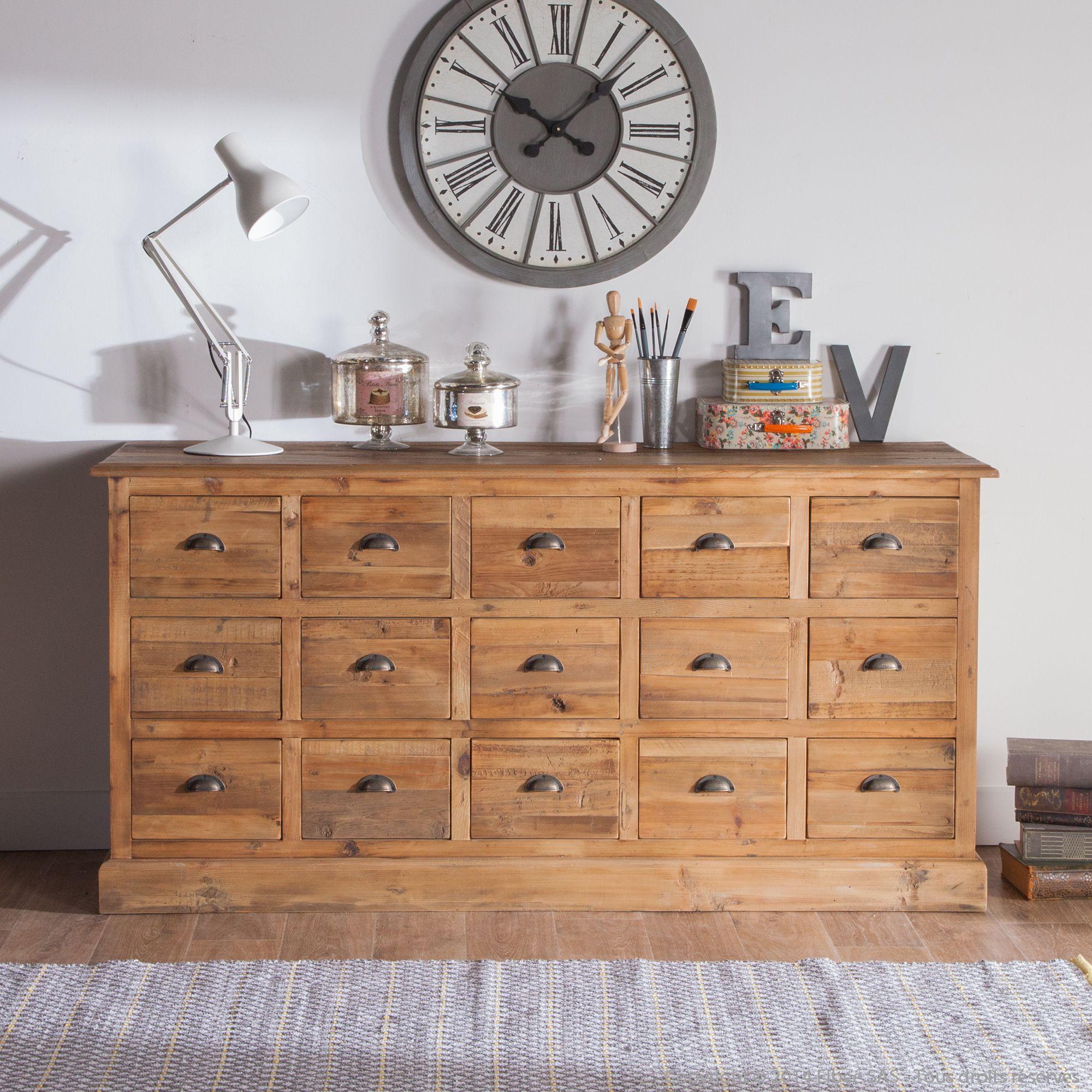 Buffet bas en bois avec tiroirs Longueur 170cm BROCANTE port ...