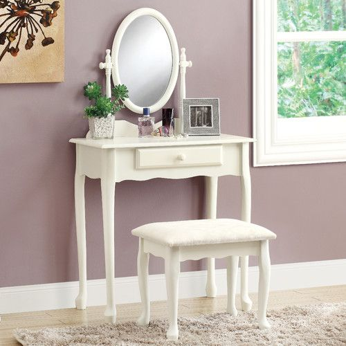 Found it at Wayfair - 2 Piece Traditional Vanity Set with Mirror - Bedroom Vanity Table