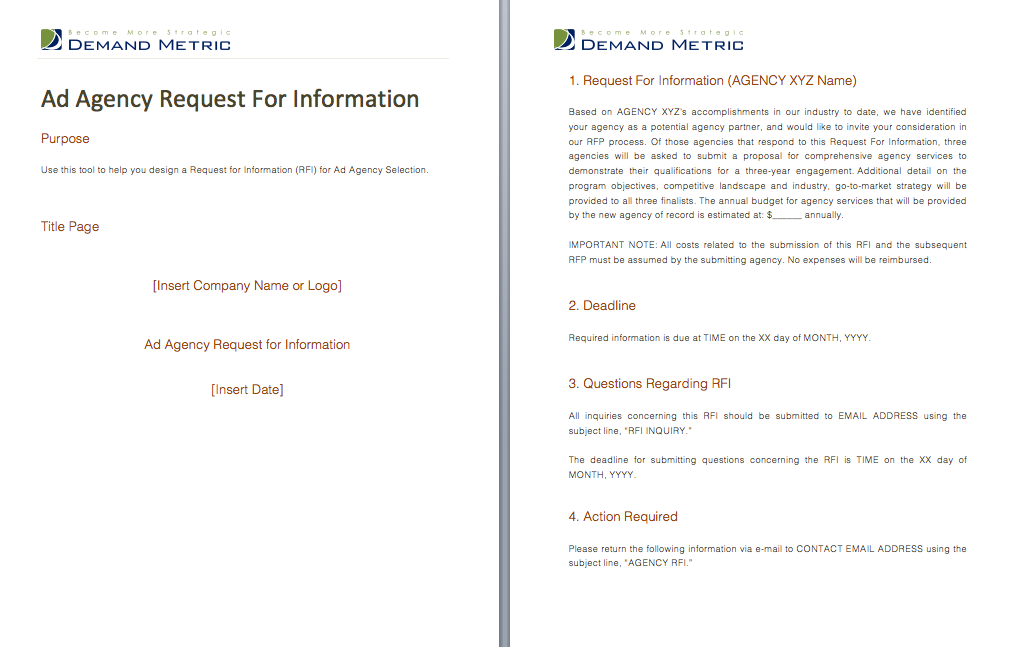 Ad Agency Request For Information  A Template To Quickly Develop