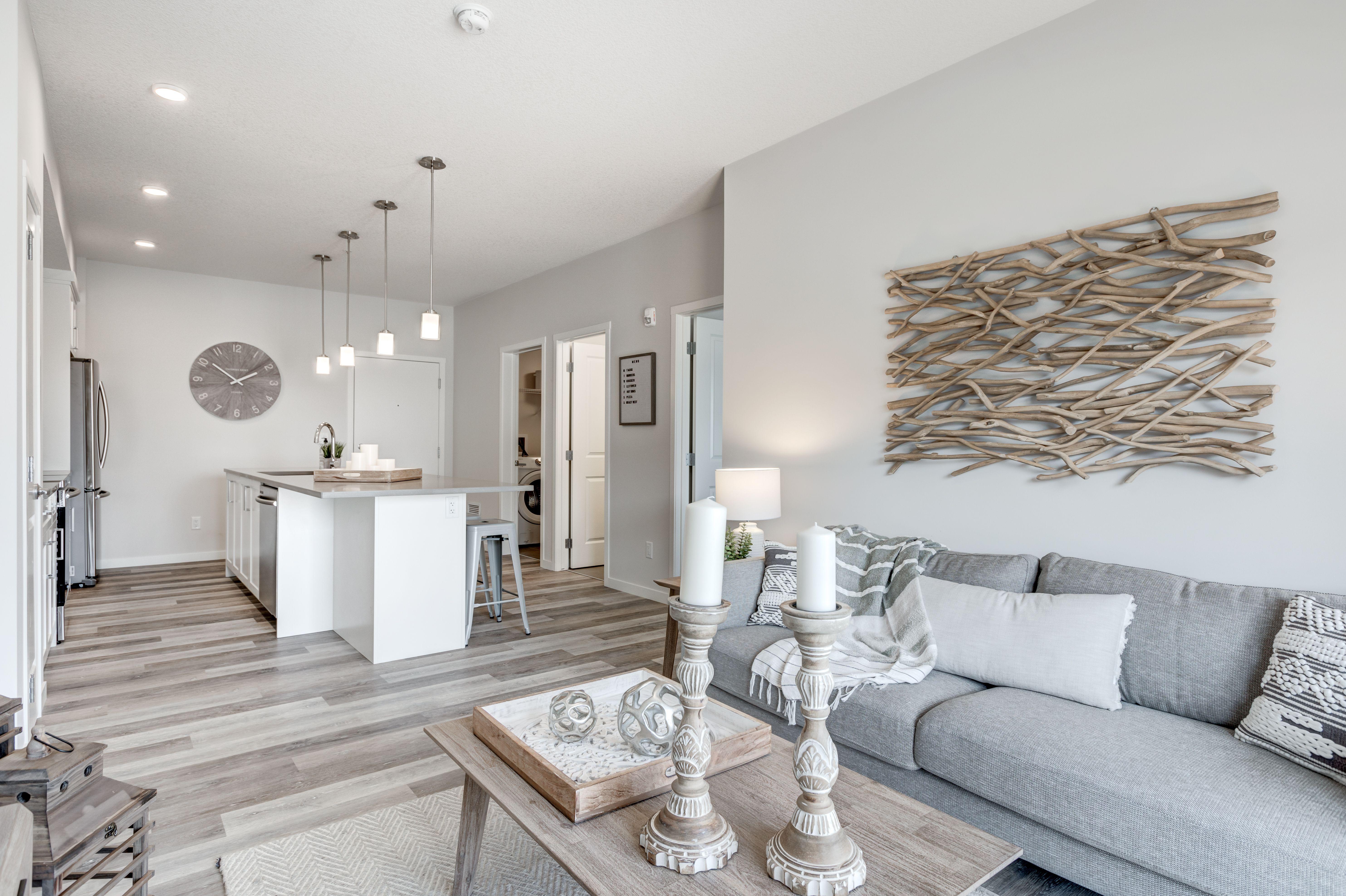 Photo of Neutral farmhouse living room