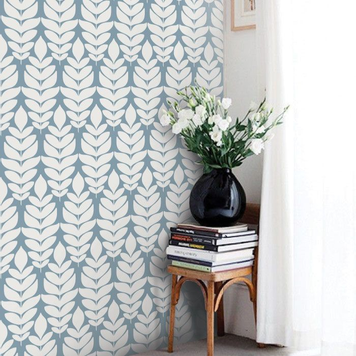Modern Leaves Pattern Dusky Blue PEEL & STICK