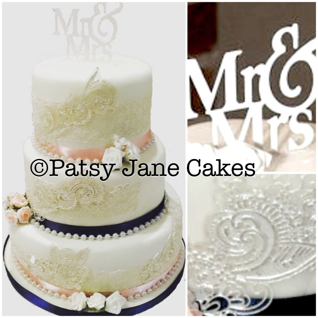 Pearls and Lace Edible Lace Vintage White Wedding cake | Cake ideas ...