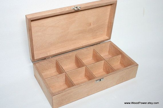 Wooden Tea Box With 8 Compartments Light Brown Box Wooden Keepsake Box Jewelry Box Gift Box Storage Box Plywood Box Organizer Boite A The En