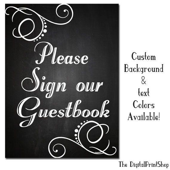 Custom Chalkboard Guestbook 4 Sign Rustic Wedding Decoration Digital Printable Able