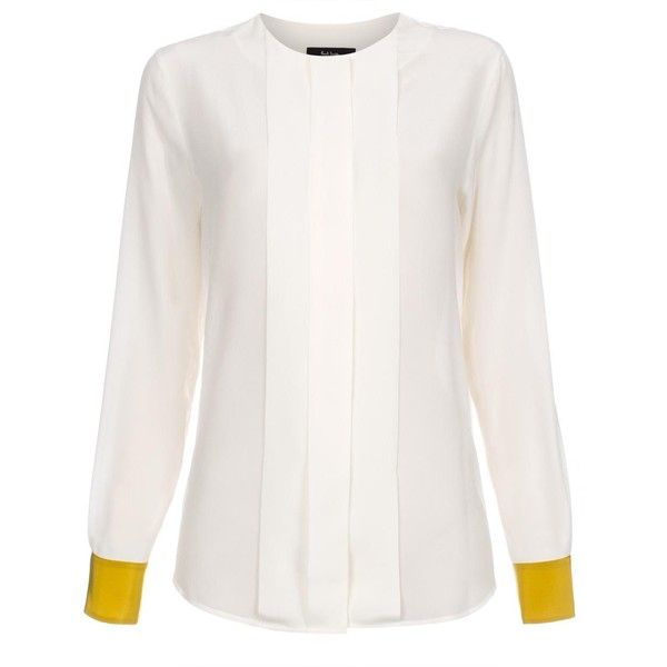 38ddc689082 Paul Smith Women s Off-White Collarless Pleat-Front Shirt ( 525) ❤ liked on  Polyvore featuring tops